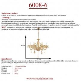 Eray Aydınlatma 6008-6 6 lı Krem Klasik Avize