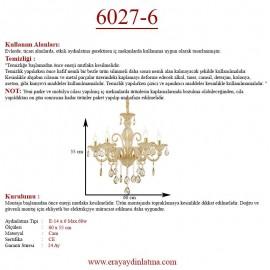 Eray Aydınlatma 6027-6 CAM KOL AVİZE
